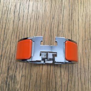Hermes Orange Clic Clac Bracelet